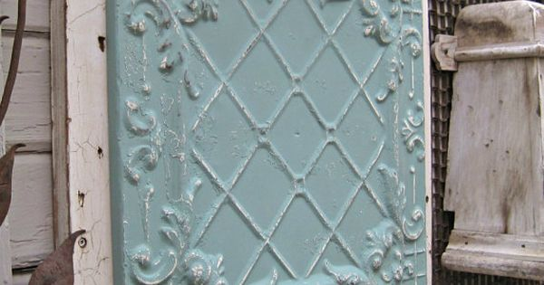 Antique Tin Ceiling Tile Framed And Ready To Hang Measurements 23 1 2 X 23 1 2 Color Aqua Antique Tin Ceiling Tile Antique Ceiling Tin Tin Ceiling Tiles