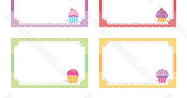 free printable cupcake name tags  the template can also be