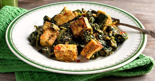 Alkaline Diet Recipe 116: Tofu with Indian Spinach - This is a delicious and alkaline recipe using tofu and spinach as the main ingredients. It has got a lovely texture and an interesting flavour given by the variety of spices used in this recipe. Serves ...