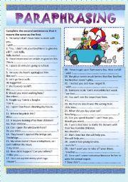 English Worksheet Paraphrasing Key Paraphrase Activitie Grammar Worksheets For 5th Grade