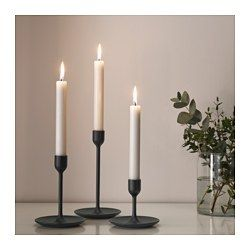 Fulltalig Candlestick Set Of 3 Black Ikea In 2020 Ikea Candles Ikea Candle Holder Black Candle Holders