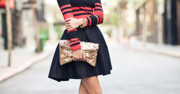 Crimson dress, gold sequin clutch, loubies