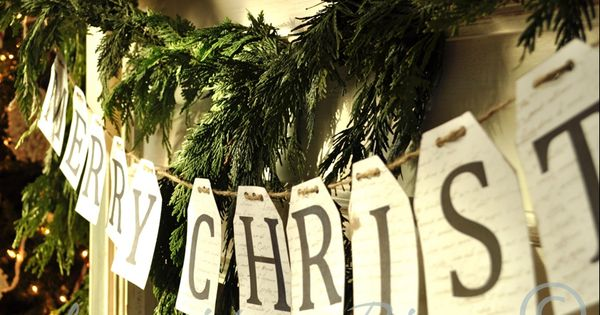 simple merry christmas paper and twine banner. :: jennifer rizzo virtual holiday