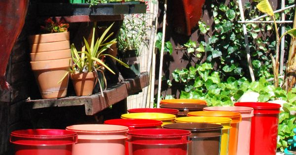 Spray painted 5 gallon buckets garden pots for my tomato plants