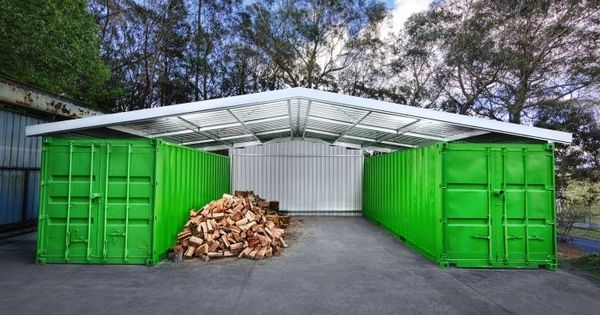 Container shed offset car port wood shed tool storage for House plans with offset garage
