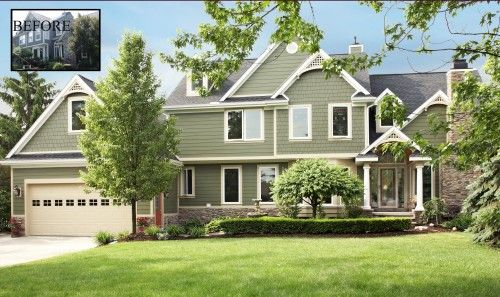 Pin By 3acres On Exterior House Exterior Green Siding Traditional Exterior