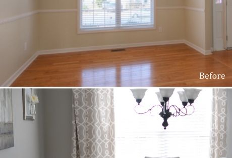 Nice impact in a dining room - DIY wainscoting and extra tall