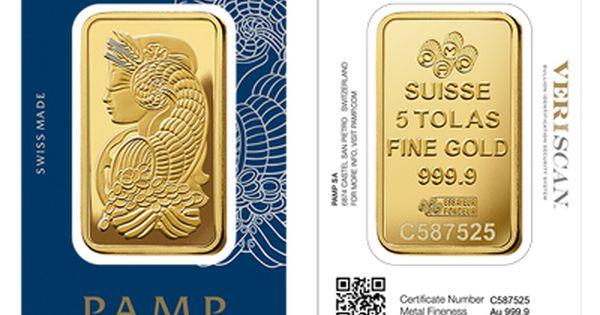 Pamp Gold Five Tola Bar Gold Bullion Coins Gold Bullion Bars Mint Gold