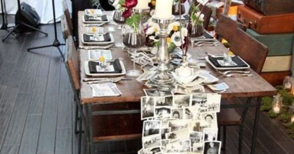 photo table runner - cool idea for an anniversary party or milestone