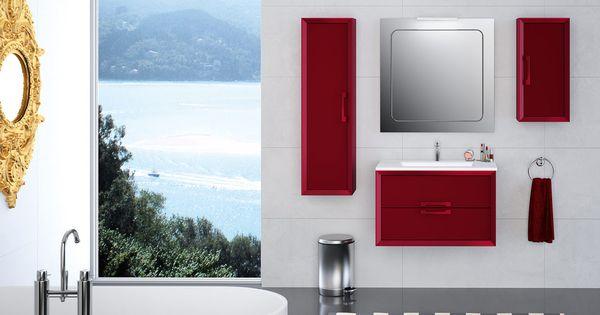 Mueble satinado rojo bicolor DEOBAS  tu Cocina y Baño ...