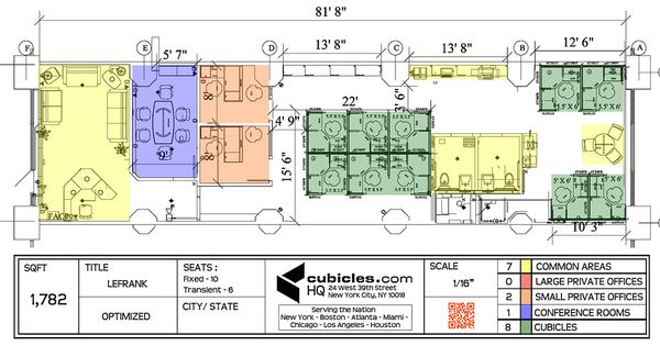 Office furniture layout with 6 work stations for 1 155 for Business office design layout