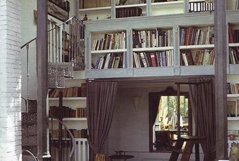 books! nook! loft! spiral staircase! tall rolling stepladder! skylight!