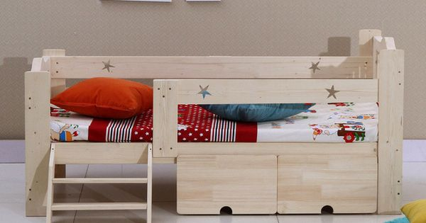 Wooden Children Bed Baby Cot With Guardrail Detskaya Krovatka