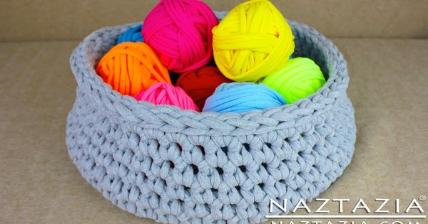 DIY Learn How to Make T-Shirt Yarn & Crochet a Basket ...