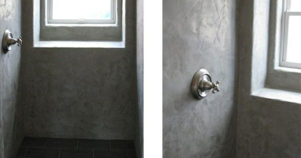 Polished smooth and sealed, concrete plaster shower walls