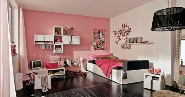 Jugendzimmer m dchen rosa wand wei e m bel schwarzer for Weisse mobel jugendzimmer
