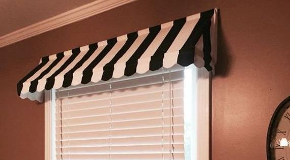 Custom Striped Awning Valance Scalloped Edge Indoor Awning Etsy Indoor Awnings Window Valance Valance