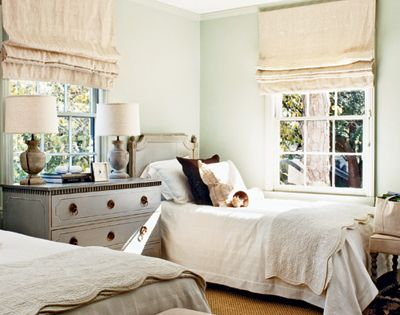 twin beds neutral - cottage, kids' room, guest room...