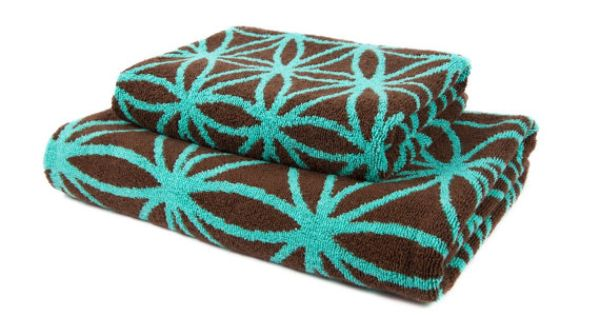 Bath towel set with flower of life in brown and turquoise for Turquoise and brown bathroom sets
