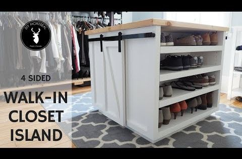 This 4 Sided Walk In Closet Island Is Packed With Storage Solutions Two Sides Have Open Shelving To Store 32 Pairs Of Shoes The Othe Closet Island Diy Barn Door Hardware Diy Sliding