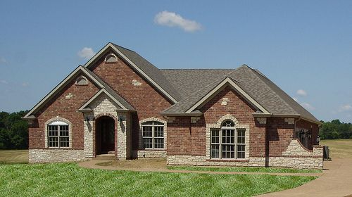 Front Elevation Full Brick With Stone Accents Brick Exterior House Brick Ranch Houses Stone Exterior Houses