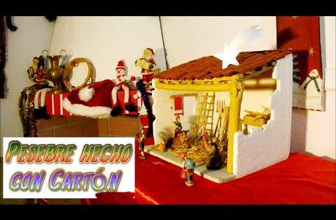 Manualidades para navidad pesebre hecho con carton portal - Belen navidad manualidades ...