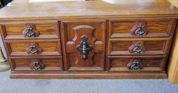 Bassett 70s Carved Dresser Hollywood Regency Painted In