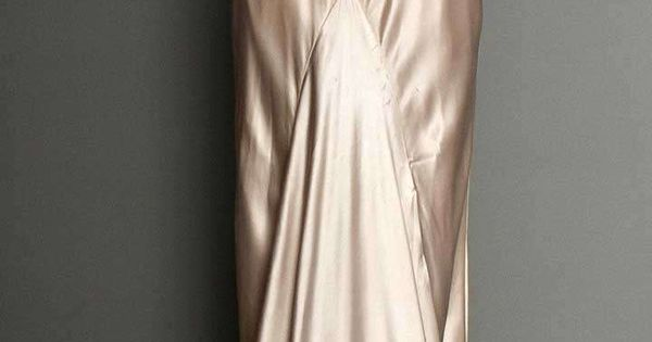 SILVER SATIN EVENING GOWN, 1930s Pale lavender/silver silk charmeuse, bias-cut, sleeveless, cowl