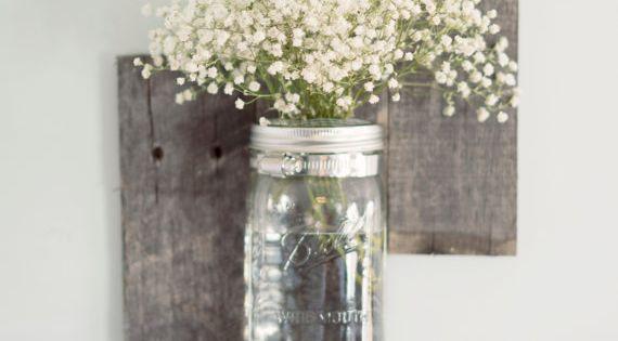 reclaimed+barn+wood+wall | Reclaimed Barn Wood Mason Jar Wall Vase by DesignsbyMJL on