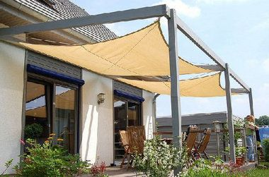 Possibly Use Eye Hooks On The Outer Posts And The House Outdoor Fabric Or A Painting Drop Cloth As A Removable Can Backyard Shade Canopy Outdoor Patio Canopy