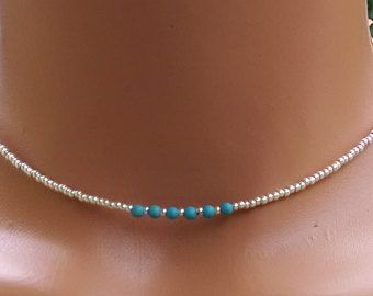 seed bead necklace Choker seed bead choker beaded necklace beaded choker turquoise necklace turquoise choker summer choker