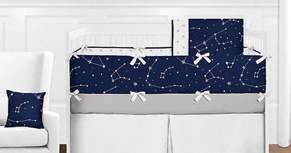 Navy Blue Grey White Constellation Moon Stars Space Baby Boy Crib Bedding Set Baby Boy Crib Bedding Sets Crib Bedding Sets Crib Bedding