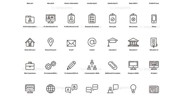 Resume Icons Cv Clip Art Curriculum Vitae Clipart Set Of Icons