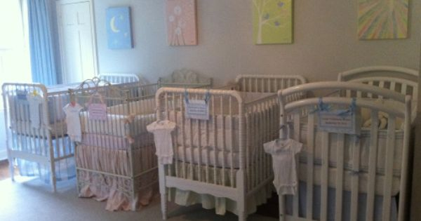 Quadruplet Neutral Nursey Crib Baby Room Inspiration Nursery Crib Quadruplets Nursery Bedroom ideas for quadruplets