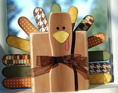 Thanksgiving Turkey Craft - 2x4, paint stir stick and large popsicle sticks