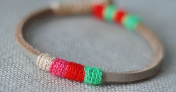 mini leather bracelet - remind me of neapolitan ice cream and summer
