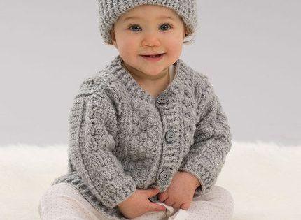 Free Crochet Pattern Aran Hat : Aran Stitch Cardigan & Hat for baby - Free Crochet Pattern ...