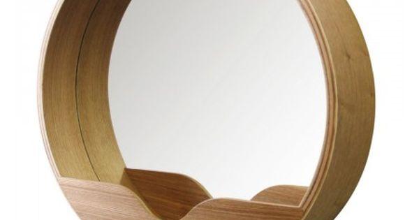 Miroir en bois round wall zuiver tiroirs et design for Miroir zuiver