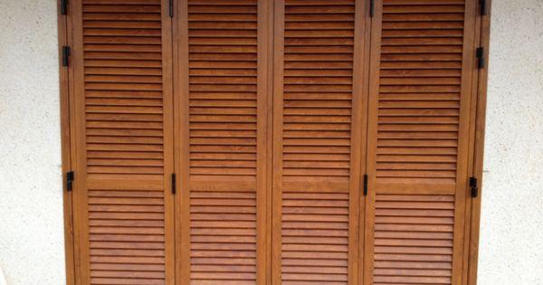Puerta mallorquina de 4 hojas aluminio imitaci n madera - Mallorquinas de madera ...