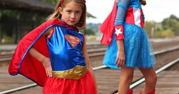 little miss captain america and super girl go hand in hand costumeexpress craftthatparty. Black Bedroom Furniture Sets. Home Design Ideas