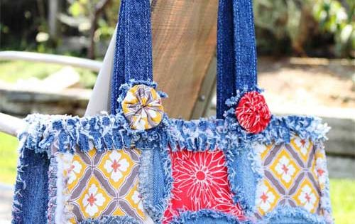 The Denim Circle Rag Bag Pattern From Accuquilt Shows You