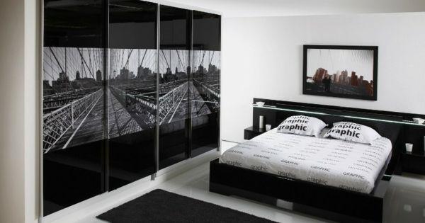 Schlafzimmer weiß schwarz  schwarz-weißes innendesign - schlafzimmer | Bett schwarz weiss ...