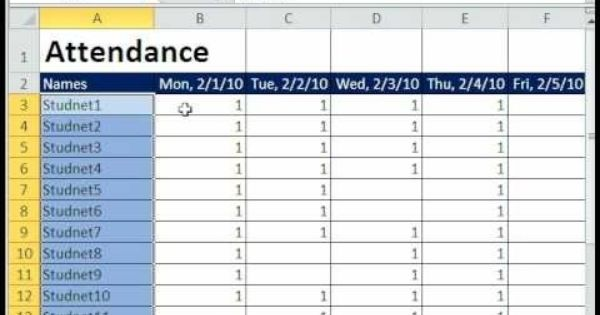 How To Create A Basic Attendance Sheet In Excel Attendance Sheet