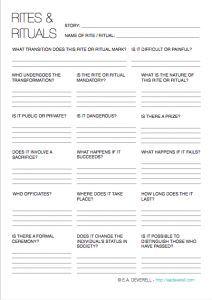 Rites Rituals Writing Worksheet Wednesday Writing Worksheets