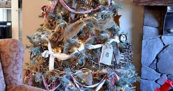 A junk styled stepladder Christmas tree - by Funky Junk Interiors. I