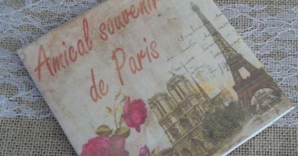 Ceramic tile paris theme kitchen trivet coaster spoon for Paris themed kitchen ideas