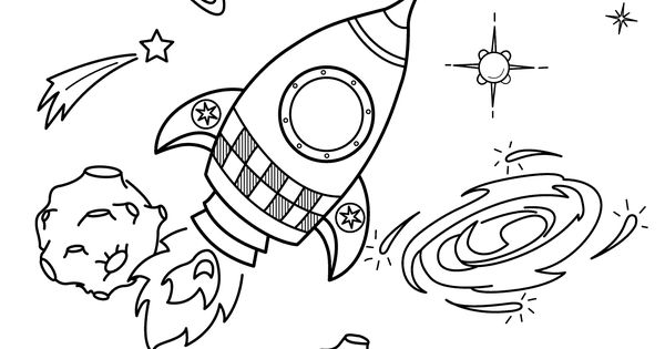Space Coloring Pages For Kids With Rocket, Printable Free