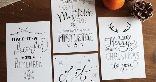4er postkarten set weihnachten handlettering. Black Bedroom Furniture Sets. Home Design Ideas
