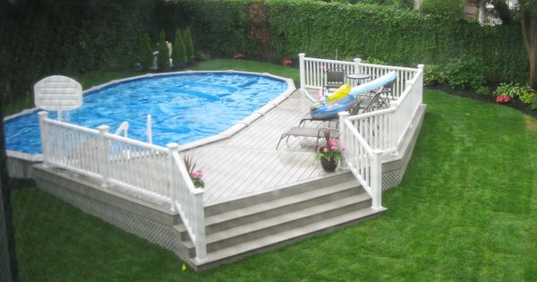 18x33 semi inground pool with deck pool pinterest for Above ground pool decks tampa