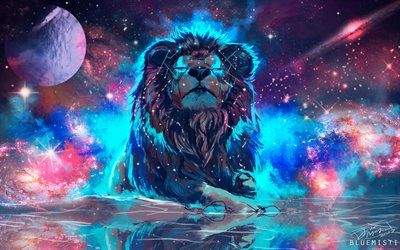 Telecharger Fonds D Ecran 4k L Espace Le Lion L Art La Galaxie Nebuleuse Besthqwallpapers Com Fond Ecran Animaux Fond D Ecran Colore Fond D Ecran Lion